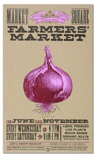 Impressive / FARMERS MARKET ONION Hand Printed Letterpress Poster by YeeHaw #design #graphic #poster