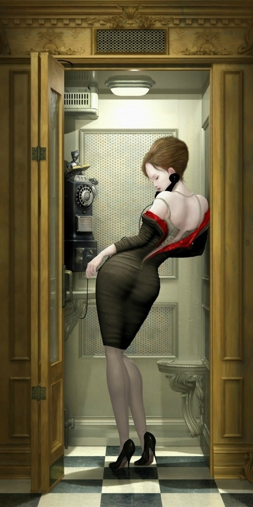 RayCaesar 4 #sexy #phone #woman #zip #unzip #bottom #curves #corset #illustration #call #painting #femme #dress