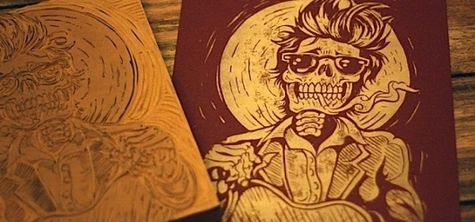 Tattoo Style Illustrations by Strawcastle | Abduzeedo | Graphic Design Inspiration and Photoshop Tutorials #skeleton #of #print #linoprint #the #day #linography #dead #death