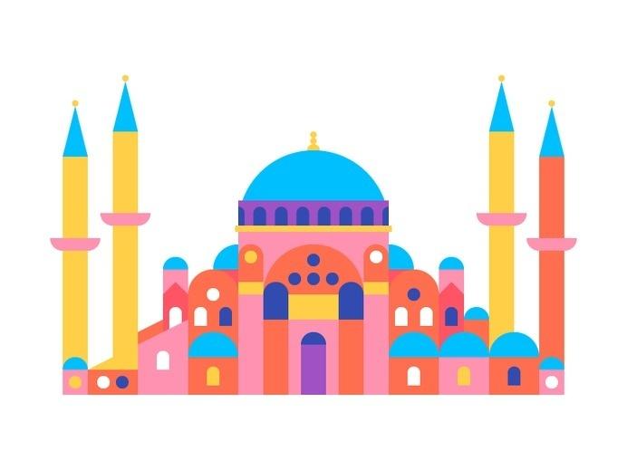 Hagia Sophia #city #geometric #illustration #building #minimal