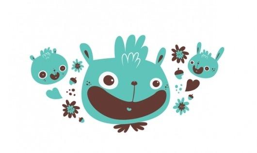 Pattern design on the Behance Network #pattern #nutsdrawing #trama #bunnies #girls #bichos #illustration #kids #bears #rabbit