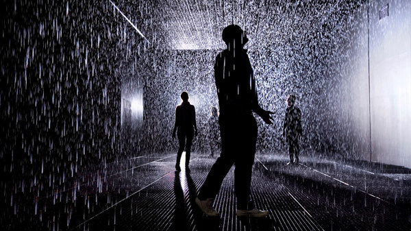 Backlit visitors #installation #rain #silhouette #room #shadow