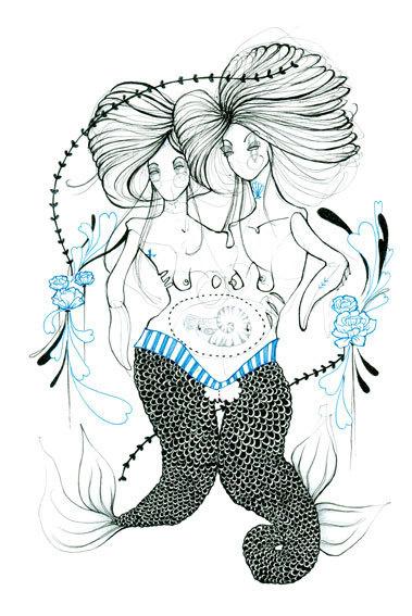 The Twins - Natasha Muhl #twins #natashamuhl #illustration #mermaids