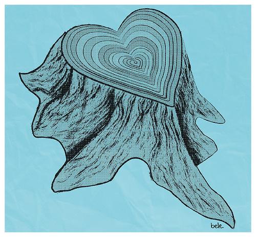 http://beleonia.tumblr.com/ #heart #wood #illustration #poster