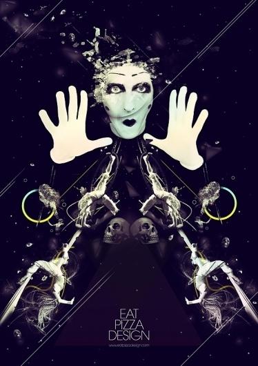 Circus « Eat Pizza Design #circus #graphic #illustration #photoshop #poster #dark