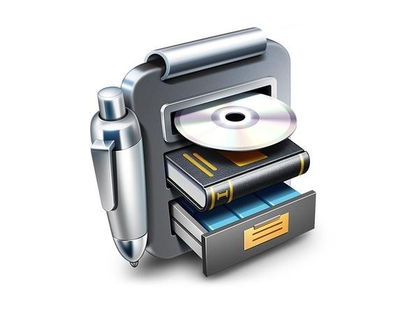 Librarian Pro App Icon #inventory #icon #ramotion #book #cabinet #app #pen #library #metal #cd #locker #mac