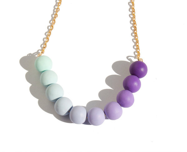 Geometric necklace Mint and purple ombre beads #bead #color #mint #jewelry #purple