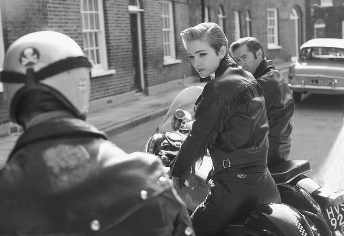 Leather clad English rocker girl. #old #girl #portrait #bike #motorcycle
