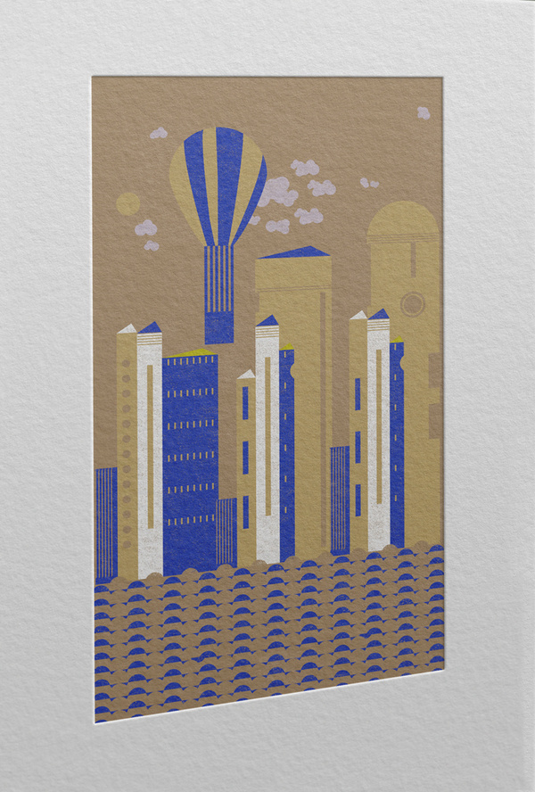 Follow your dreams. Don't forget to have fun too #city #print #geometric #balloon #illustration #dreams