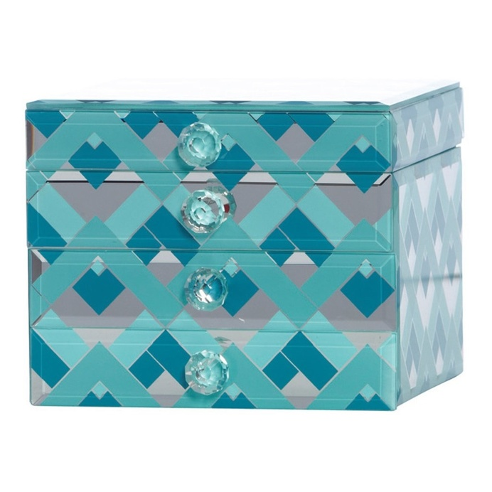 Fairview Mint & Teal Chevron Decorative Box, 16 cm
