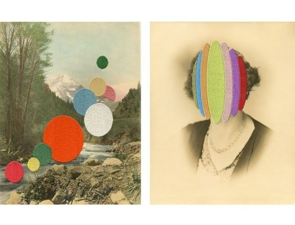 Left: Idyll | 2012 | Hand embroidery on found photograph. Right: Madame Gelati | 2012 | Hand embroidery on found photograph. #juxtaposition #landscape #embroidery #portrait #photography #collage