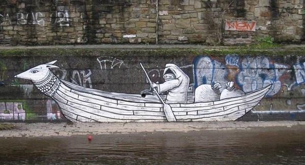 Street art on wall near river #abstract #surrealism #art #street #surreal