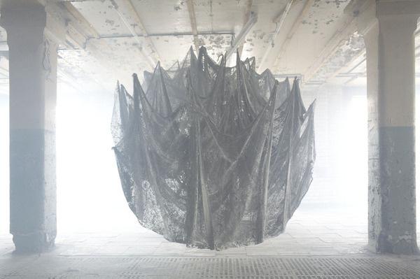 Nicola Yeoman #construction #installation #photo #spider #something #web #light #shadow