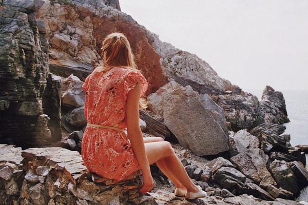 On the rocks #woman #rocks #portrait #photography #vintage #film #dress