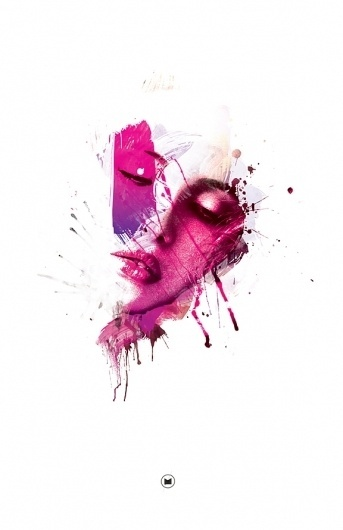 Pretty In Pink on the Behance Network #pink #lips #design #splashes #paint #face