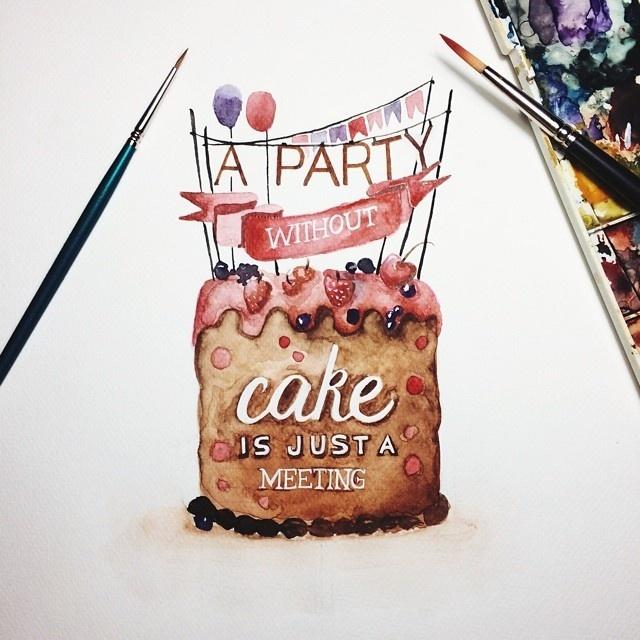 cake watercolor | Search by Muzli