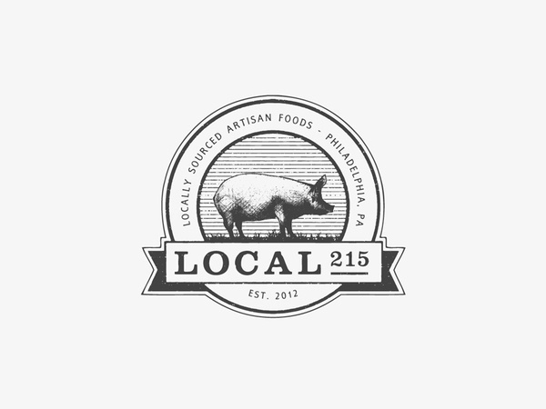 Local 215 Logoby R&Co. / Ryan Paonessahttp://r-ny.com #logo #minimal #clean #food #emblem #pig #ryan paonessa #rco