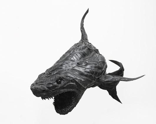 Ferocious Animal Sculptures made from Tires #sculpture #yong #ho #ji #art #animal #tires