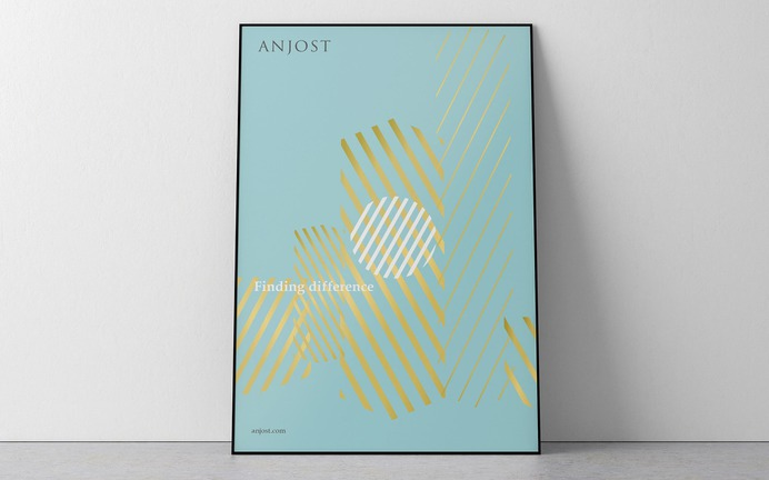 Anjost private investment company brand identity and illustration. Poster.