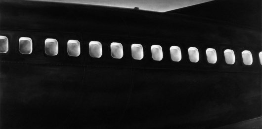 ROBERT LONGO - Works - THE MYSTERIES, 2009 - Untitled (Windows at Night) #blackwhite #white #airplane #robert #longo #black #passenger #plane #and