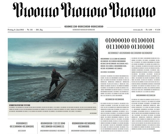 Visualized: Swiss newspaper goes digital, prints front page in binary -- Engadget