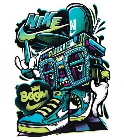 Nike Boom Box Tshirt #character #illustration #nike #tshirt