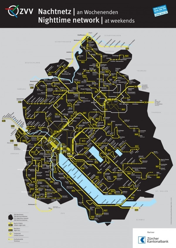 ZVV Nighttime Network Map - Fonts In Use #swiss #public #transit #infographic #maps
