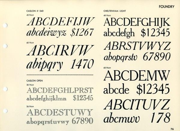 This is an oddball type specimen: Caslon 540, Caslon Open, and Cheltenham Light. #type #specimen #typography