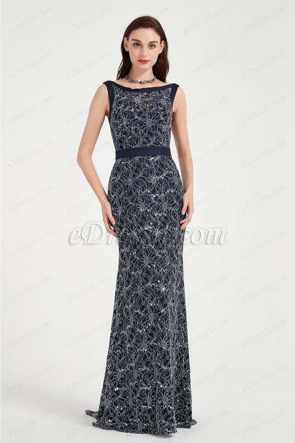 eDressit Blue Illusion Neck Lace Applique Elegant Party Evening Dress (02202405)