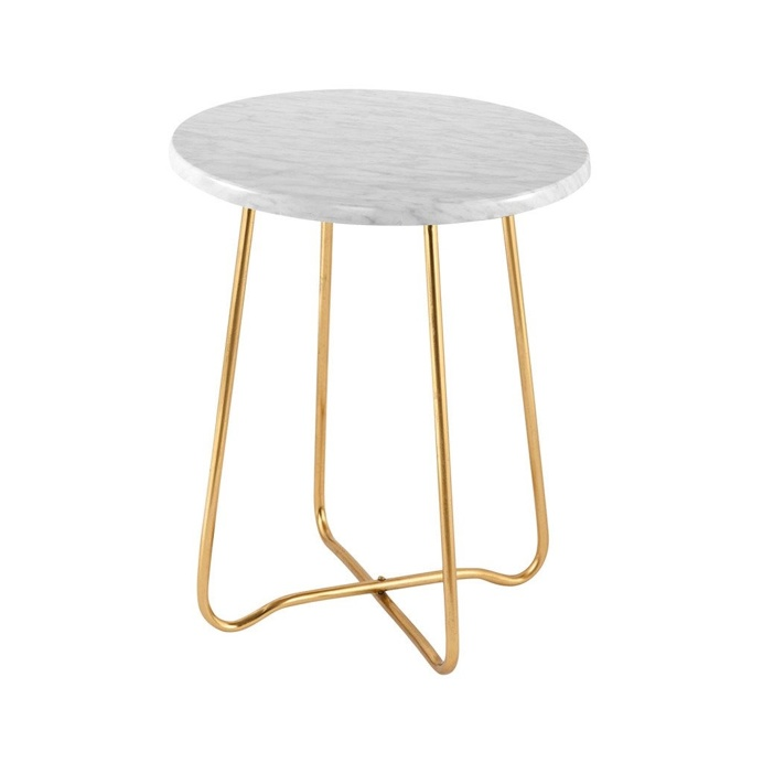 Jessica Marble Side Table Gold 47cmH x 39cmD