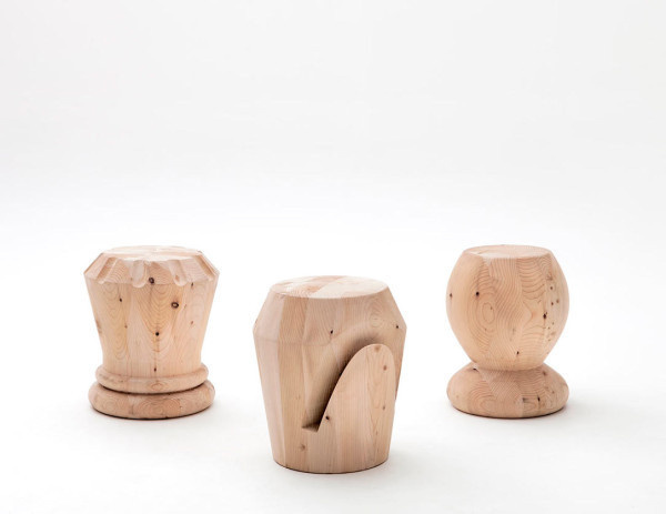 Monolithic Wood Stools Inspired by Chess Pieces Photo #chess #stools