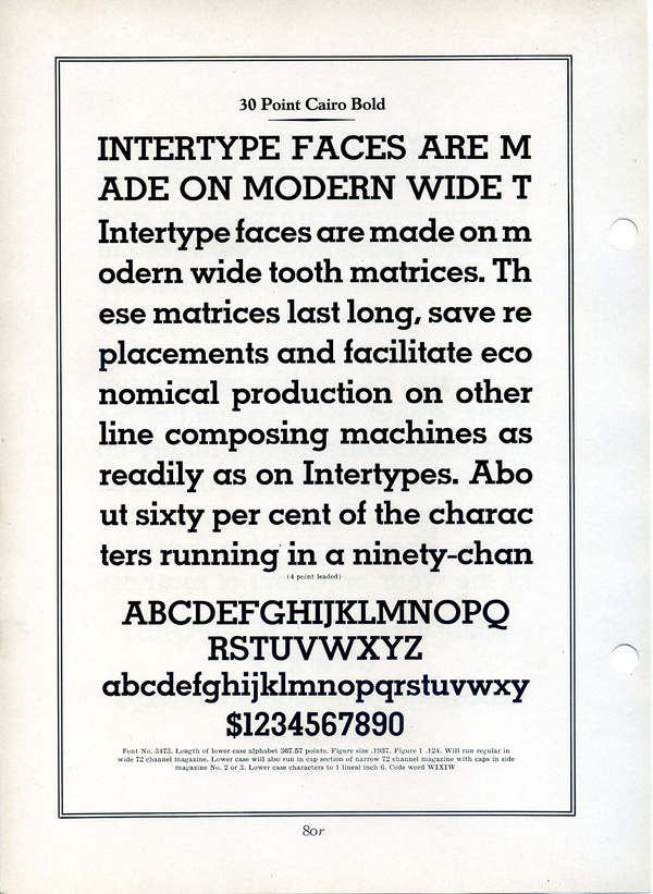 This type specimen shows Interype's Cairo. Cairo is a knockoff ofMemphis,a Rudolf Wolf typeface released by Stempel in 1929. #type #specimen #typography