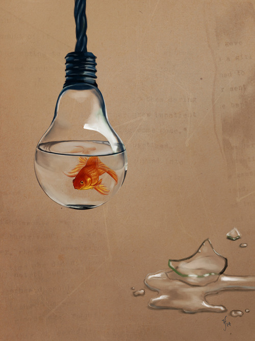 Fishbulb #bulb #goldfish #fish #electricity #design #glass #illustration #swim #art #broken #painting #puddle