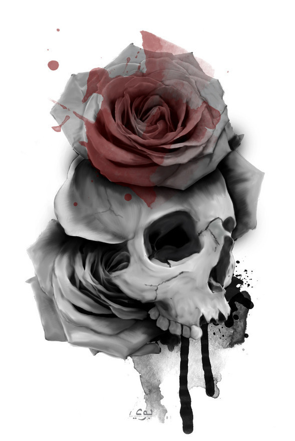 Skull Roses by BoiAmani #rose #illustration #skull #bones #death #collage