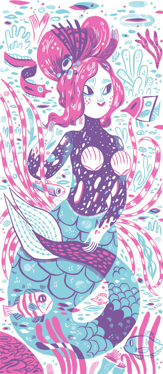 Two color orca-inspired mermaid loveliness; part of a new print. Letterpress here we come.