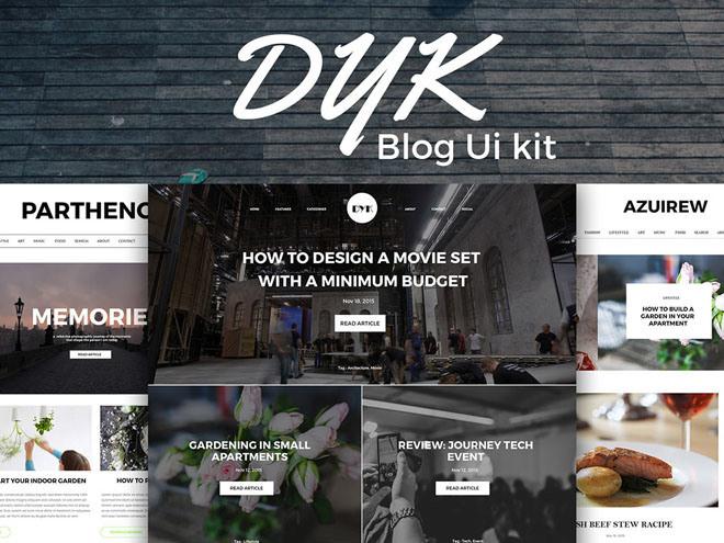 Dyk – Free Blog UI Kit PSD