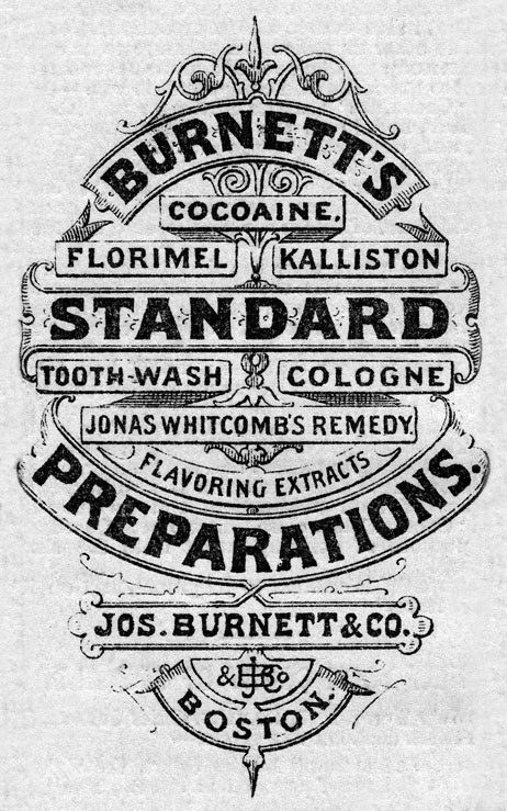 Back cover of a 1872 booklet.(via Kendrick Kidd) #banners #design #cover #vintage #booklet #typography