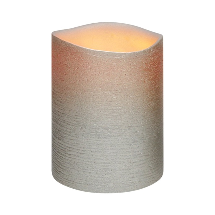 Antique Silver Distressed Textured Wax LED Flameless Candle, 8 x 10 cm