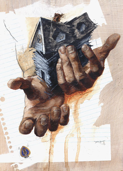 Change of Address - Matt Duquette #house #illsutration #painting #hands #mixed #media #collage