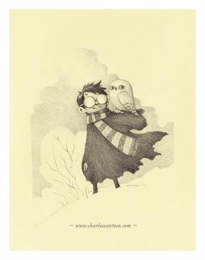 harry_hedwig_charlessantoso_02.jpg (633×802) #illustration #pencil #owl #potter