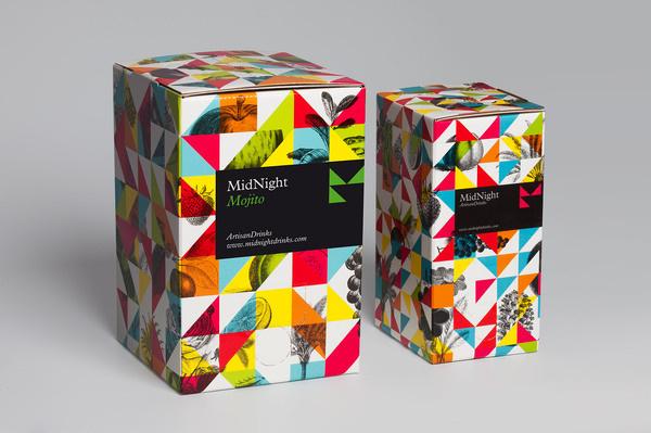 Mucho Midnight drinks #packaging #geometric