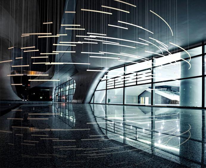 Sculptural Light Installation for Public Areas - #lamp, #design, #lighting, #art, lights, lighting design, art installations