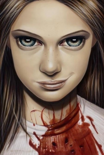 Oil Paintings by Sas Christian | Best Bookmarks #blood #girl #bite #painting #oil