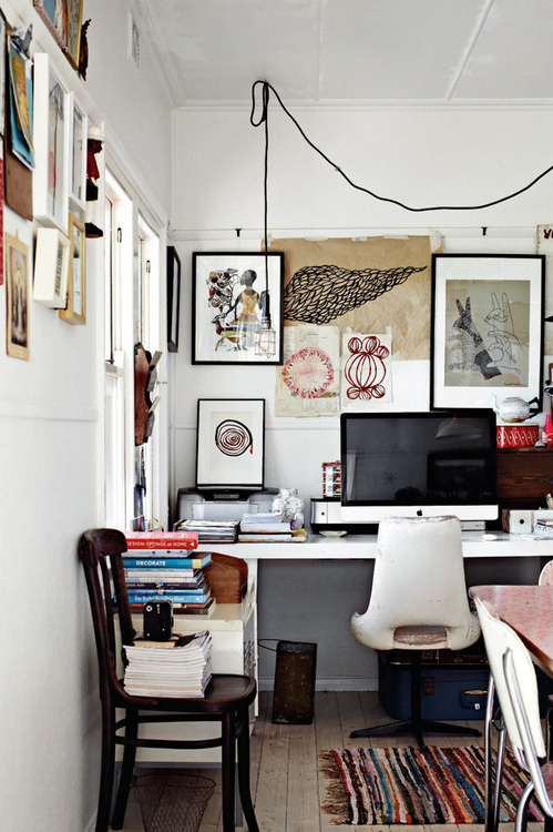 CJWHO ™ (Artist, Paula Mills Melbourne Home) #white #office #design #books #interiors #frames #photography #workspace