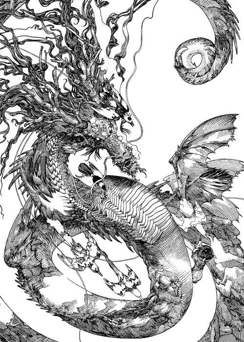 katsuya teradas 02 #dragon #line #white #black #and #drawing