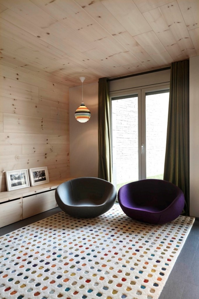 Retro house with wooden interior