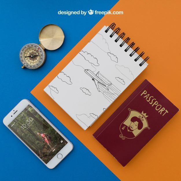 Travel items with notepad Free Psd. See more inspiration related to Mockup, Travel, Summer, Paper, Smartphone, Mock up, Drawing, Compass, Adventure, Decorative, Tourism, Vacation, Trip, Holidays, Passport, Notepad, Journey, Up, Traveling, Items, Composition, Mock, Summertime and Touristic on Freepik.