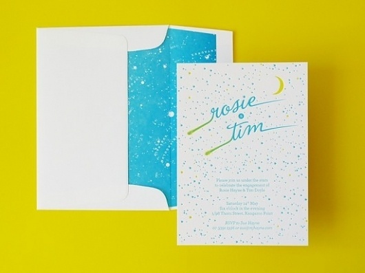 Constellation Letterpress Engagement Party Invitations | Oh So Beautiful Paper #cards #wedding