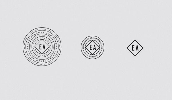 Entrepreneurs Anonymes #circle #secret #branding #montreal #entrepreneurs #crest #quã©bec #anonymous #logo #monochrome #meet-up #bar #linear #dotted #emblem #minimalist #society #montrã©al #typography