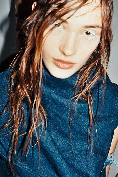 Marques'Almeida #woman #wet #hair #blue #lady